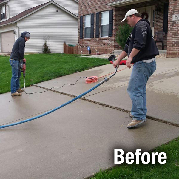 Colorado Springs Concrete Driveway Leveling Before